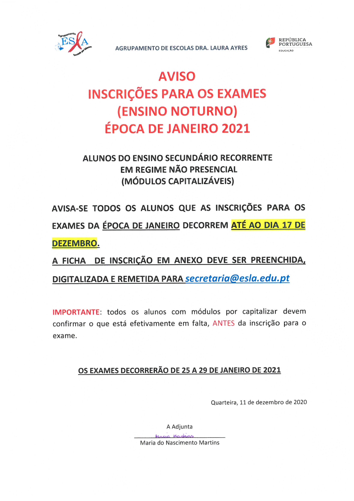 aviso inscricoes SEC NP JAN 001